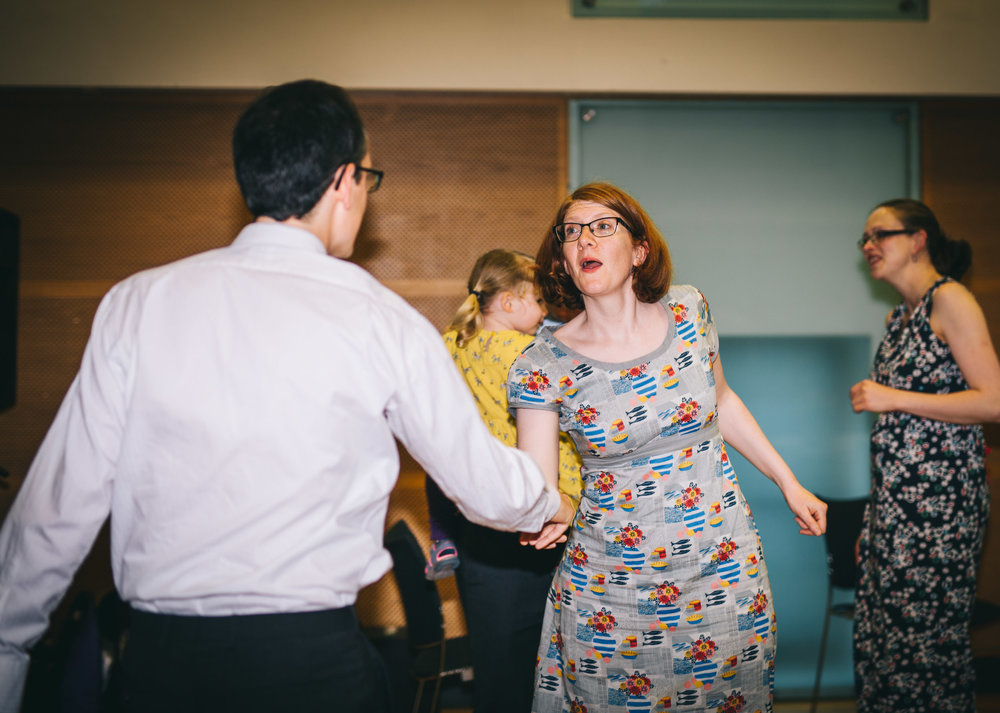 Dancing from friends and family, Village Hall wedding, Ribble Valley.