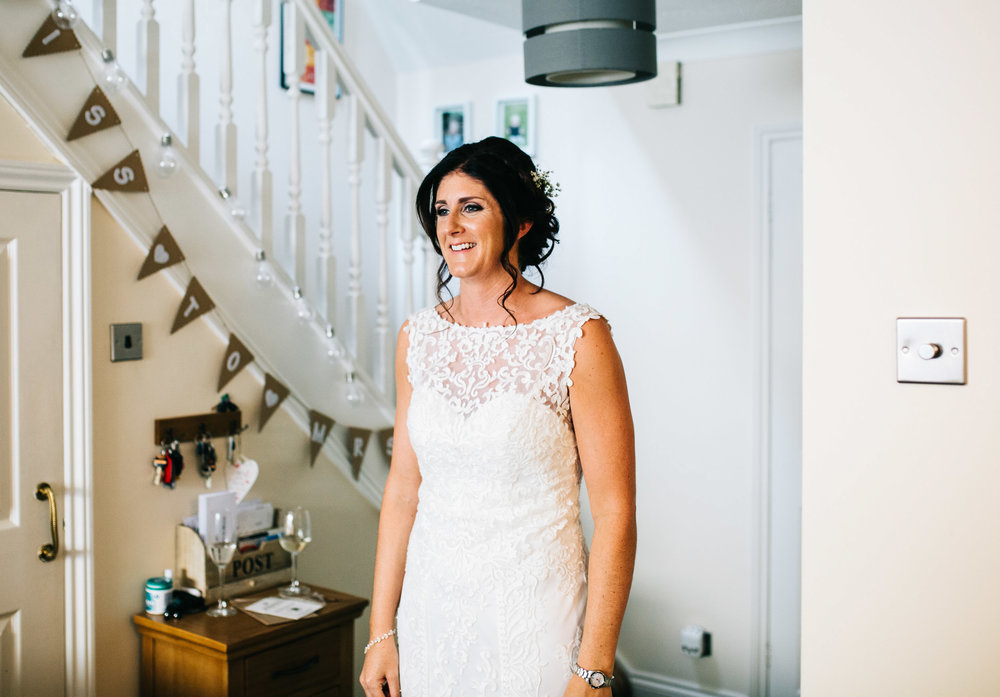 first look at the bride - same sex wedding in cheshire
