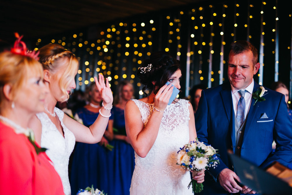 shedding tears at cheshire wedding ceremony