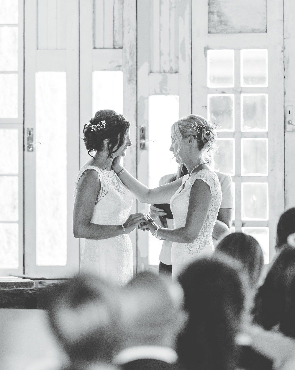 couple exchange vows - at owen house wedding barn