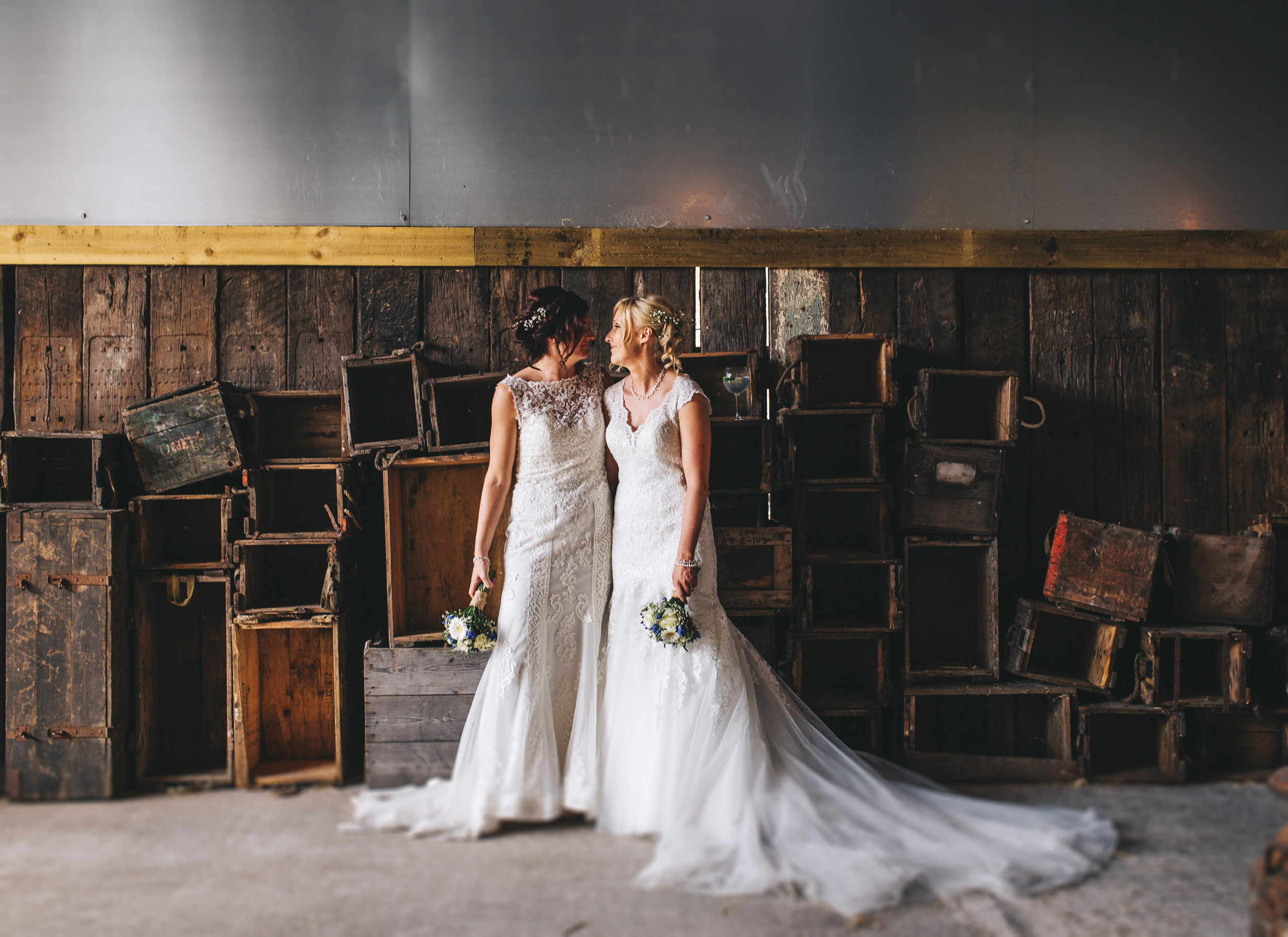 fun and creative wedding pictures in Owen House wedding barn