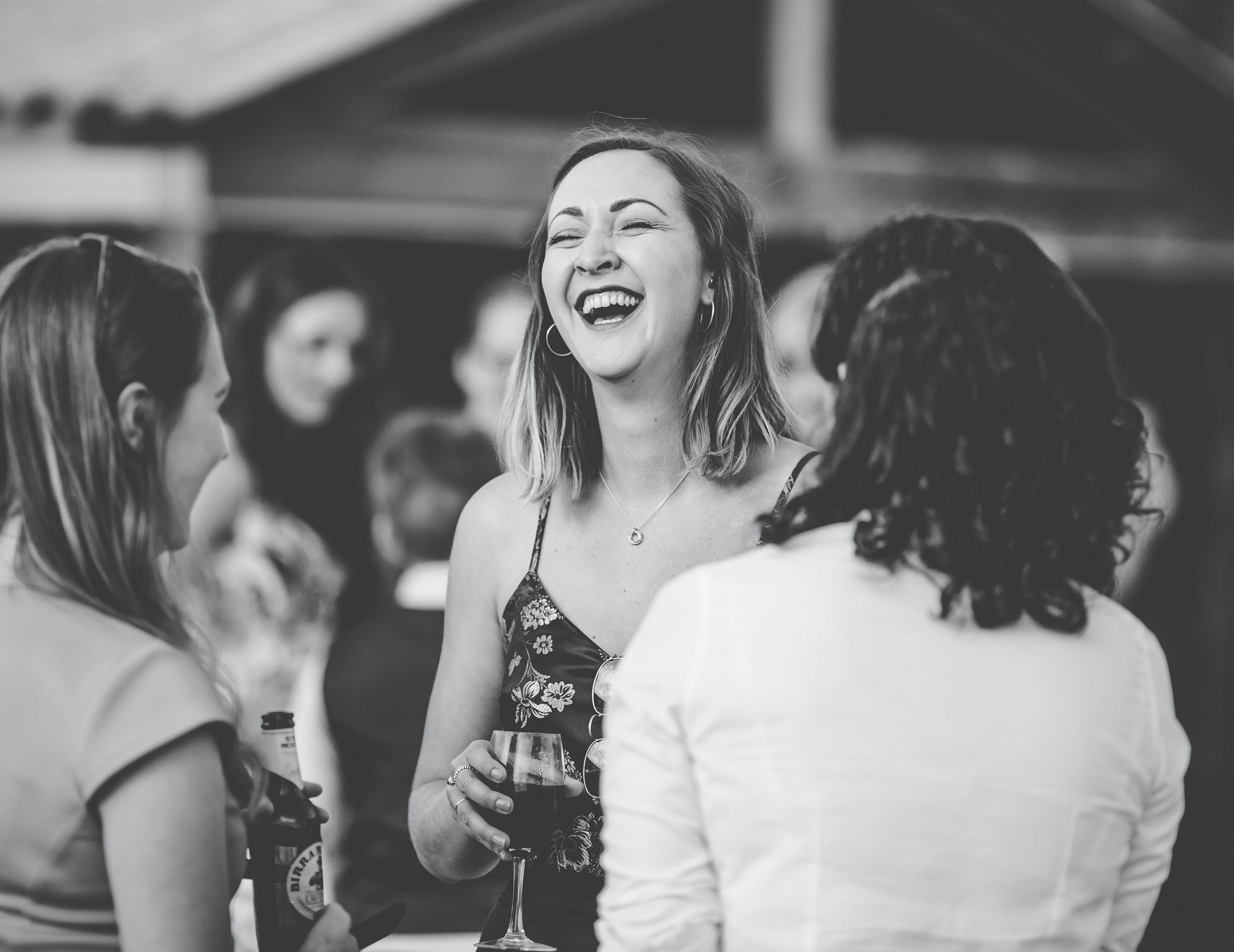 black and white wedding pictures - happy guests