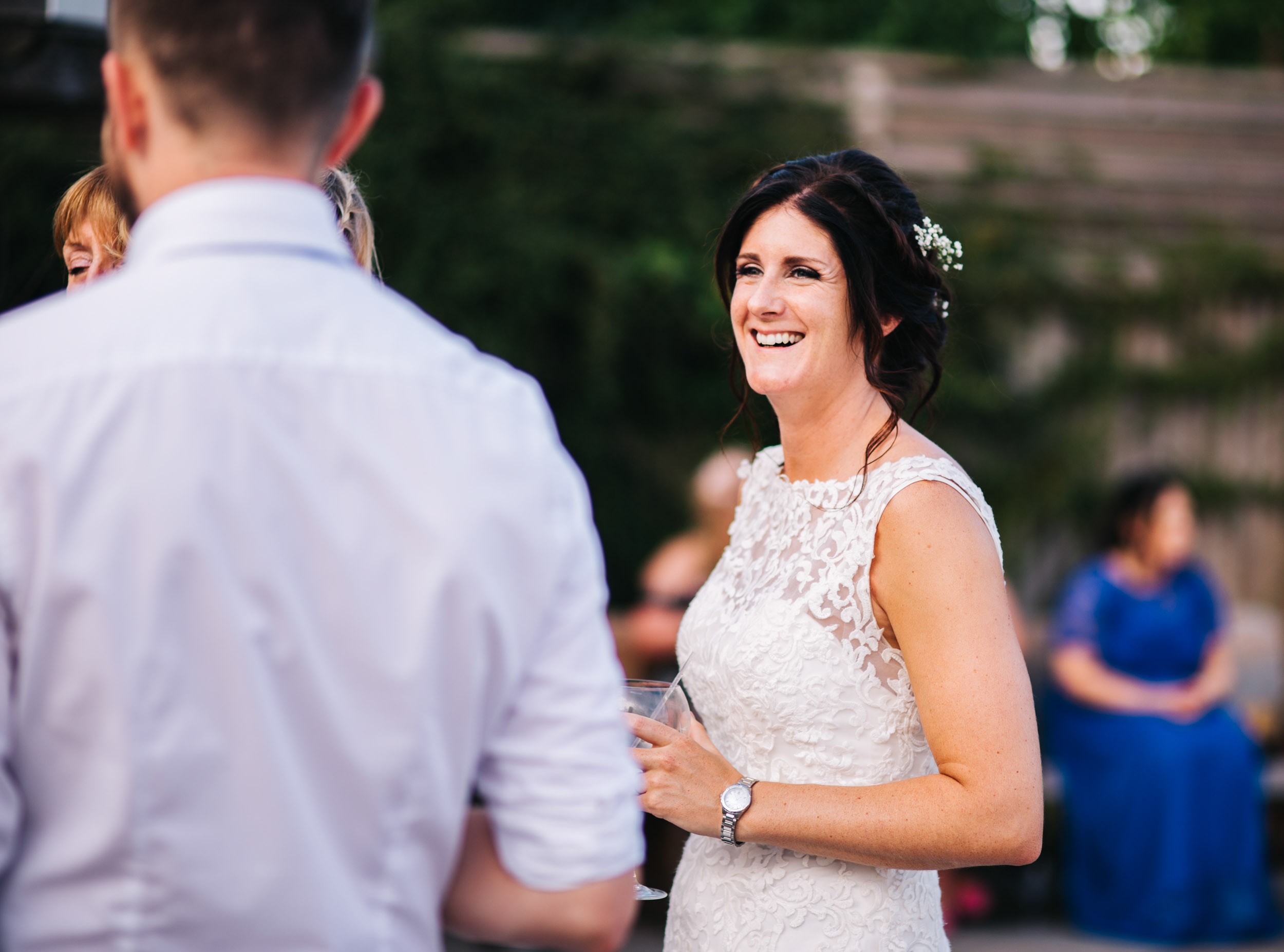 documentary wedding photography Cheshire - guests having fun