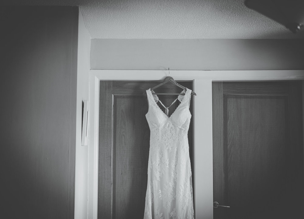 dress hung up at lancashire wedding