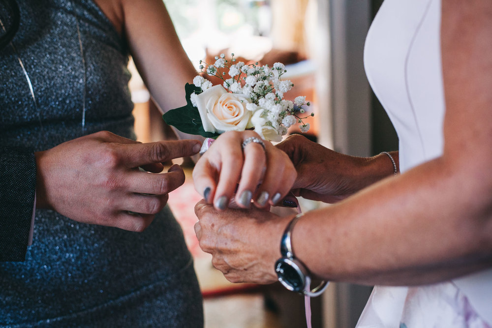 close up of corsage