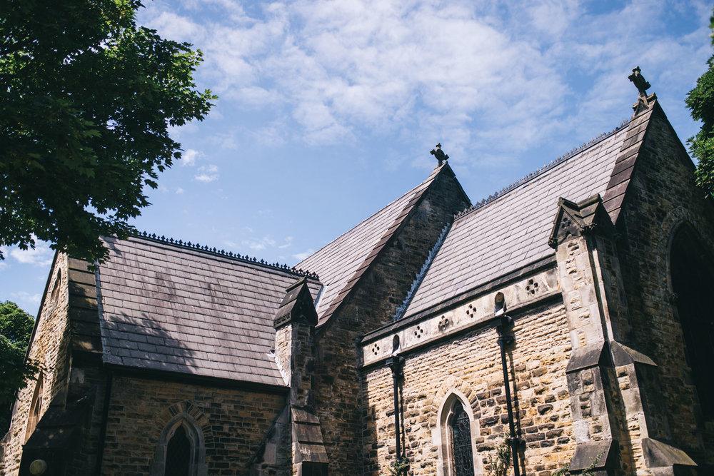 exterior shot of the church