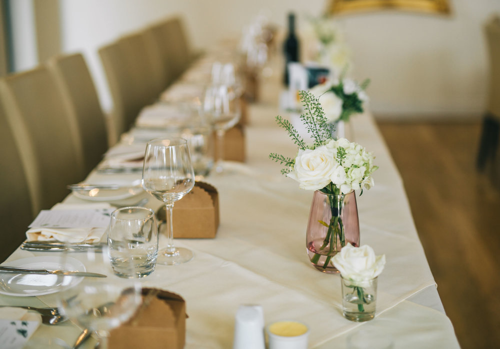 simple and modern wedding decorations at the west tower wedding venue