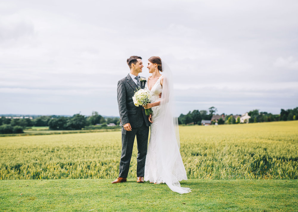 beautiful and relaxed wedding portraits - west tower venue in Aughton Lancashire