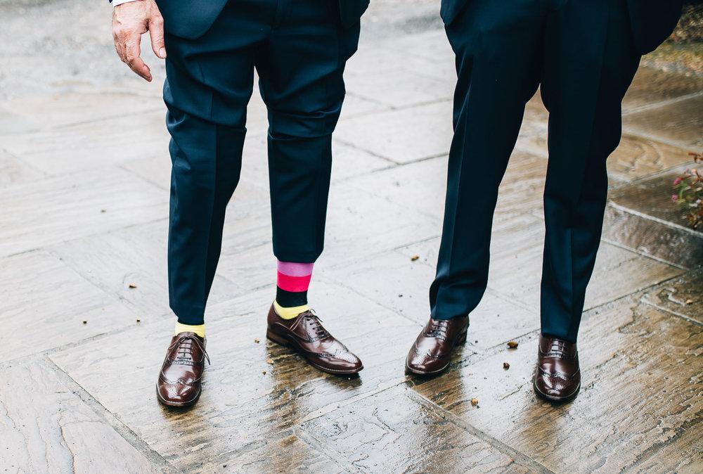 colourful groom's socks - wedding day details
