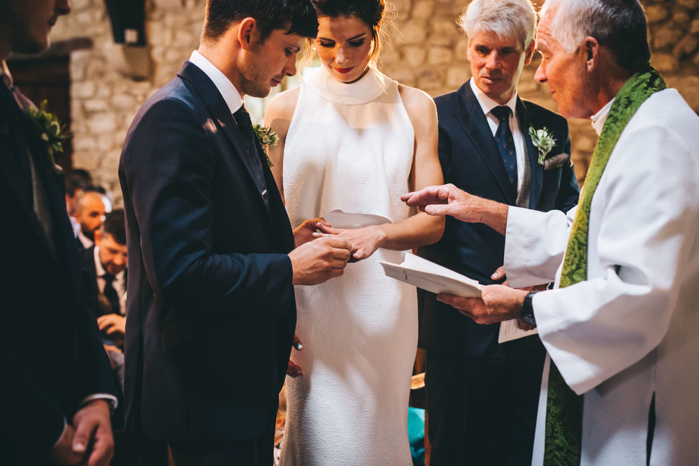 exchanging vows in church