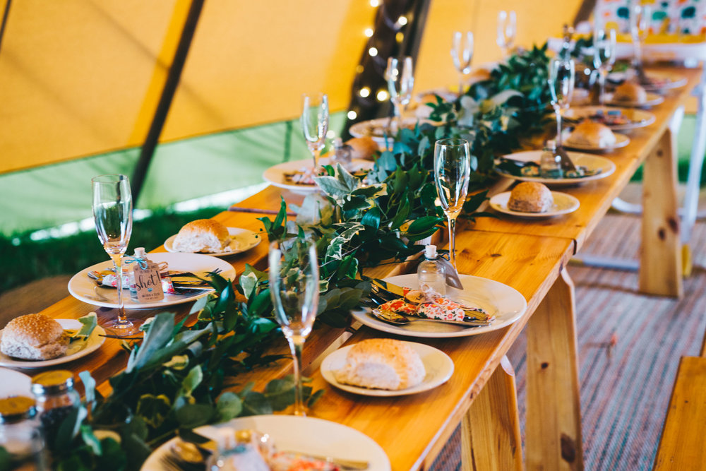 table set up in the tipi