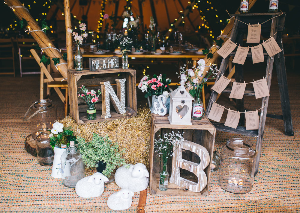 tipi wedding in the north west - hand made details and decorations