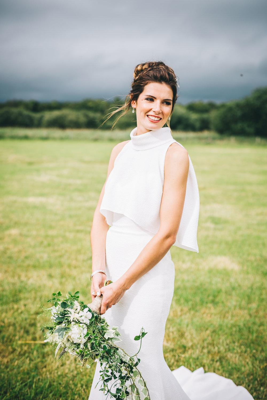 portrait of the stylish bride at boho tipi wedding in Yorkshire