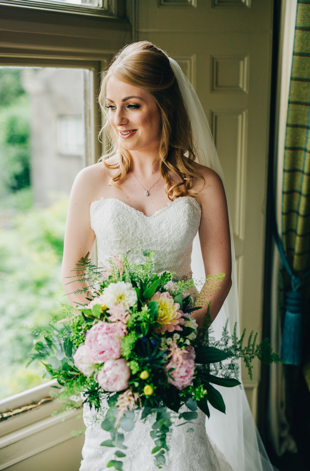 portrait of the bride at Mitton Hall