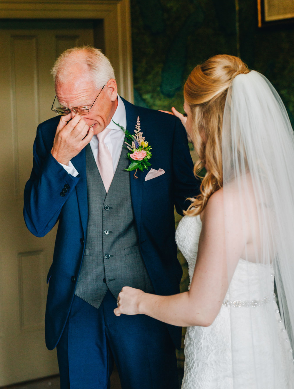 dad's emotional reaction to seeing his bride - documentary wedding photography