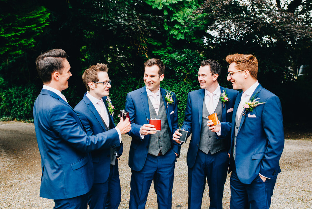 groom and groomsmen at Mitton Hall