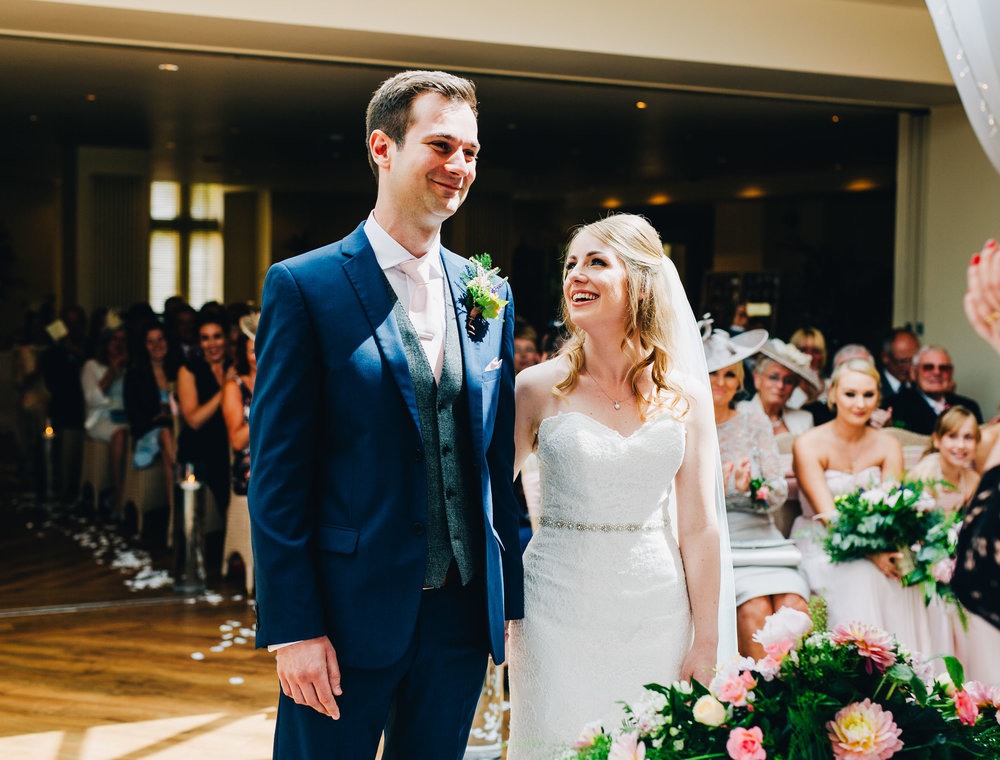 laughter and smiles at Mitton Hall wedding