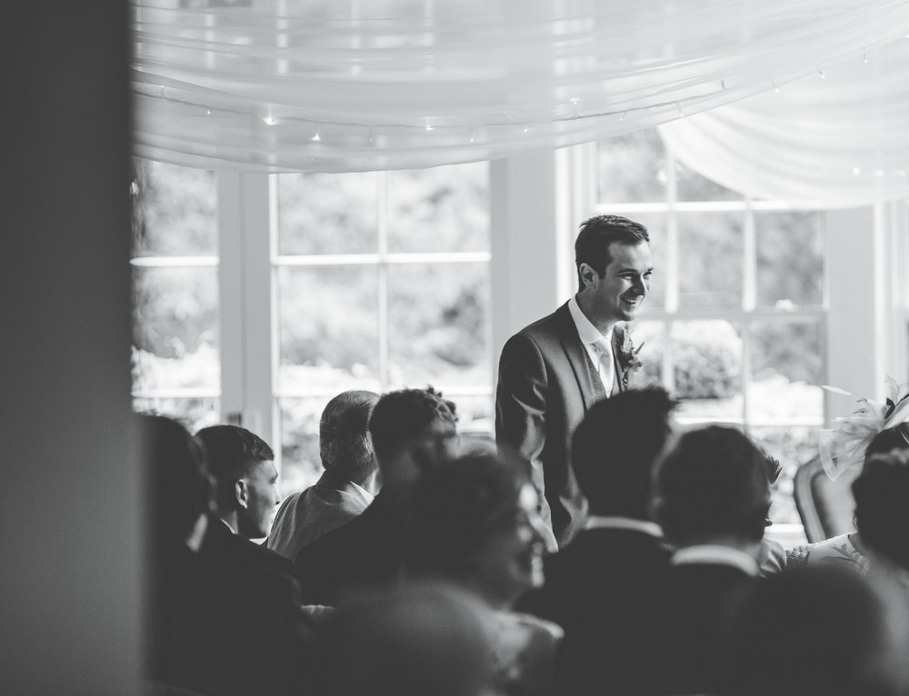 groom waiting from his bride to arrive - mitton hall
