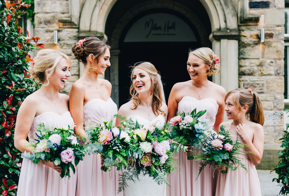 casual group shots with bridesmaids