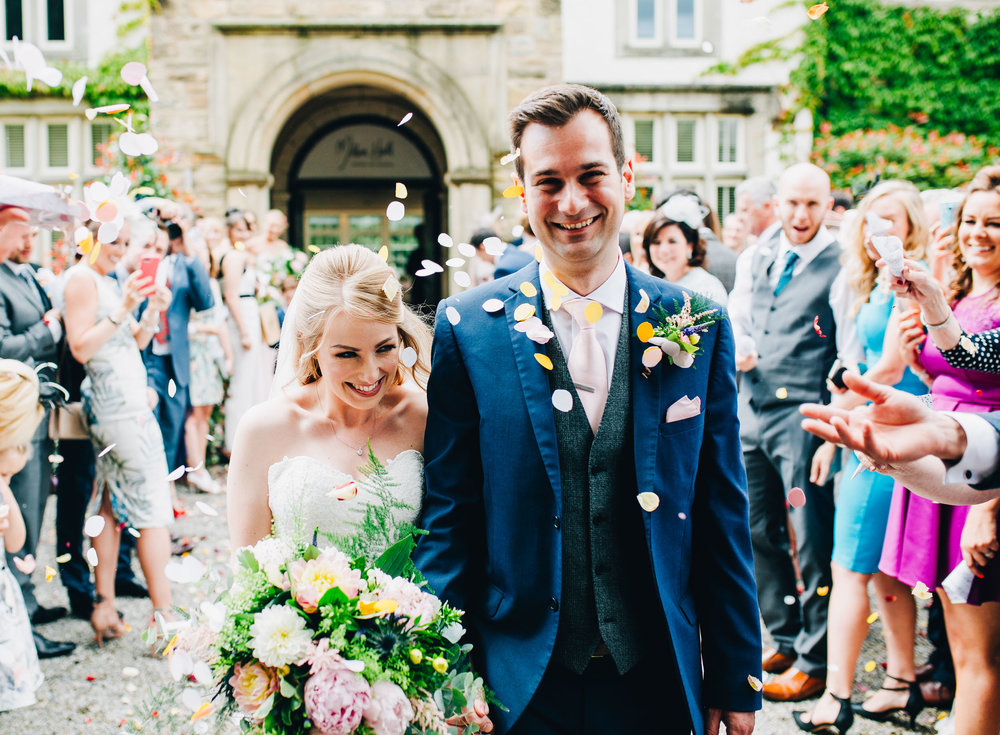 lots of confetti at Mitton Hall wedding