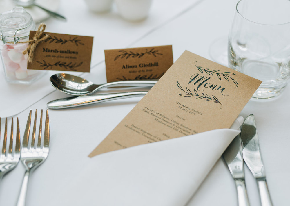 sophisticated and natural wedding decor - table menus