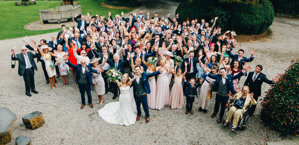 whole group shot at Mitton Hall wedding