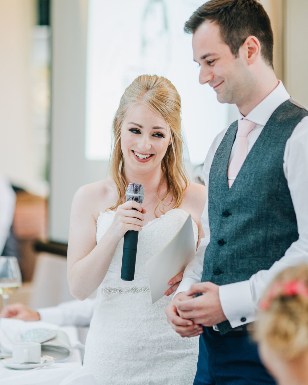 bride gives her speech - Mitton Hall wedding pictures
