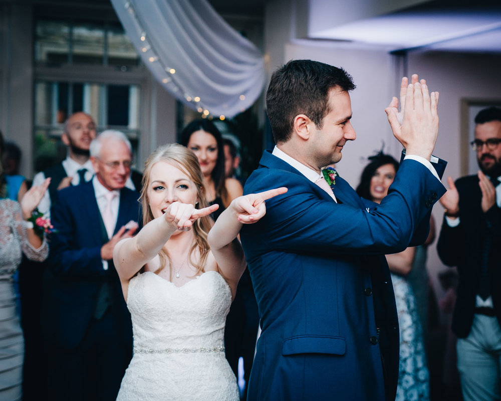first dance time at Mitton Hall - fun bride and groom