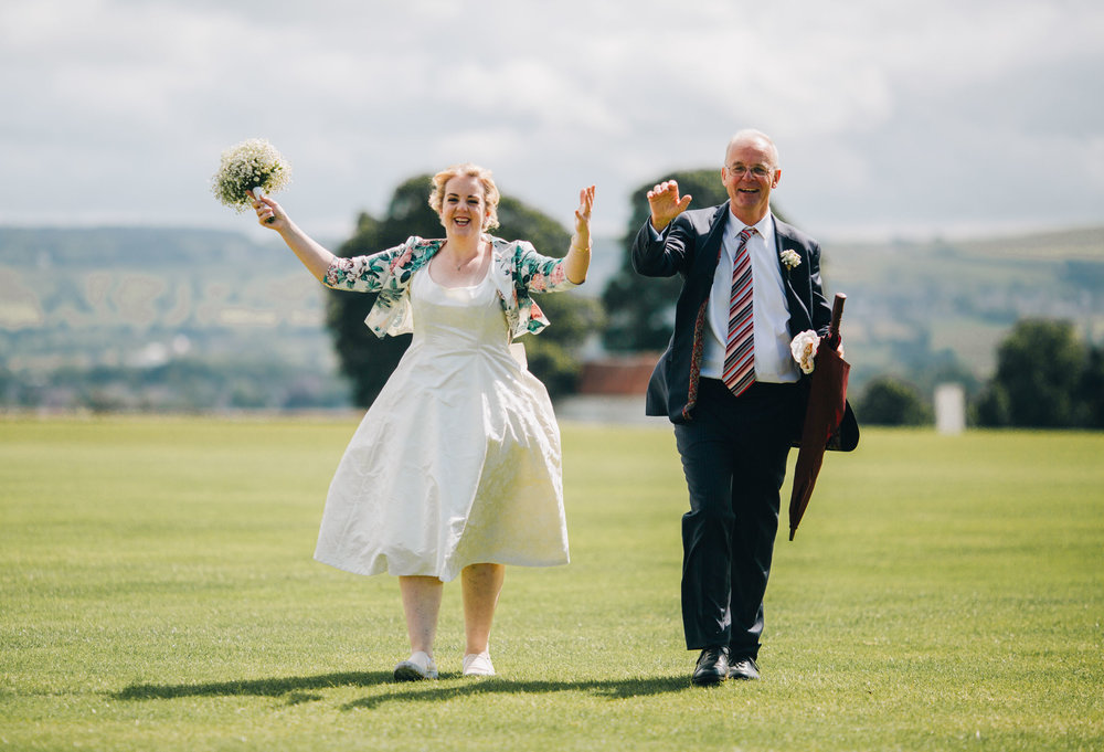 bride arrives at church - relaxed wedding in the Ribble Valley