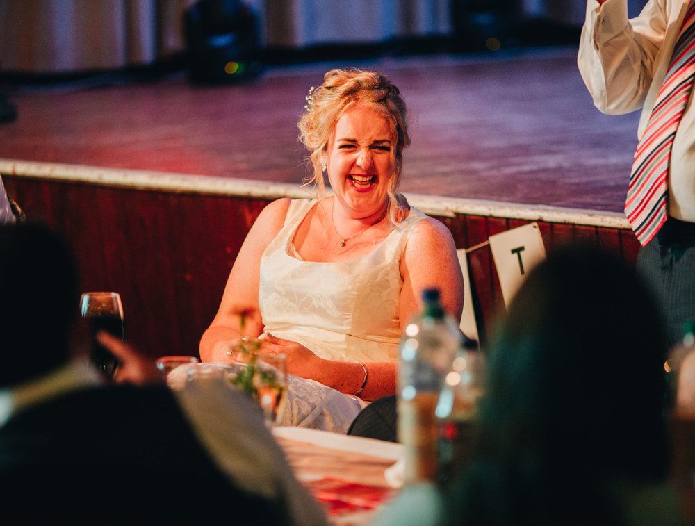 guests laughing during the best man speech -wedding photography lancashire
