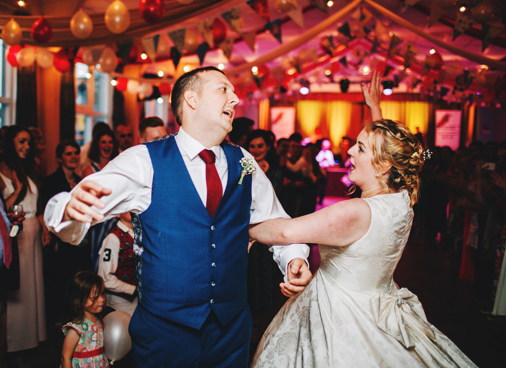 fun and relaxed dancing - village hall wedding