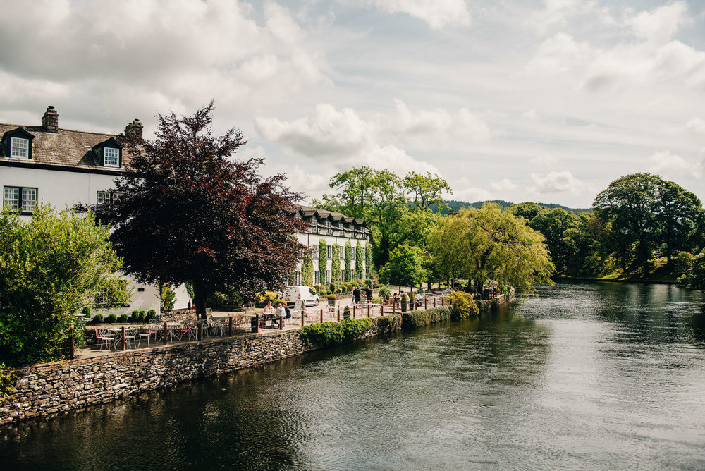 exterior shot of the wedding venue - Swan Inn at Newby Bridge in the Lake District