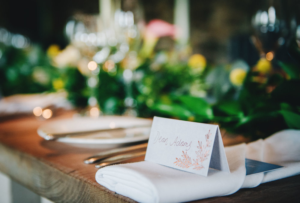 table decor - relaxed and colourful wedding in the lakes