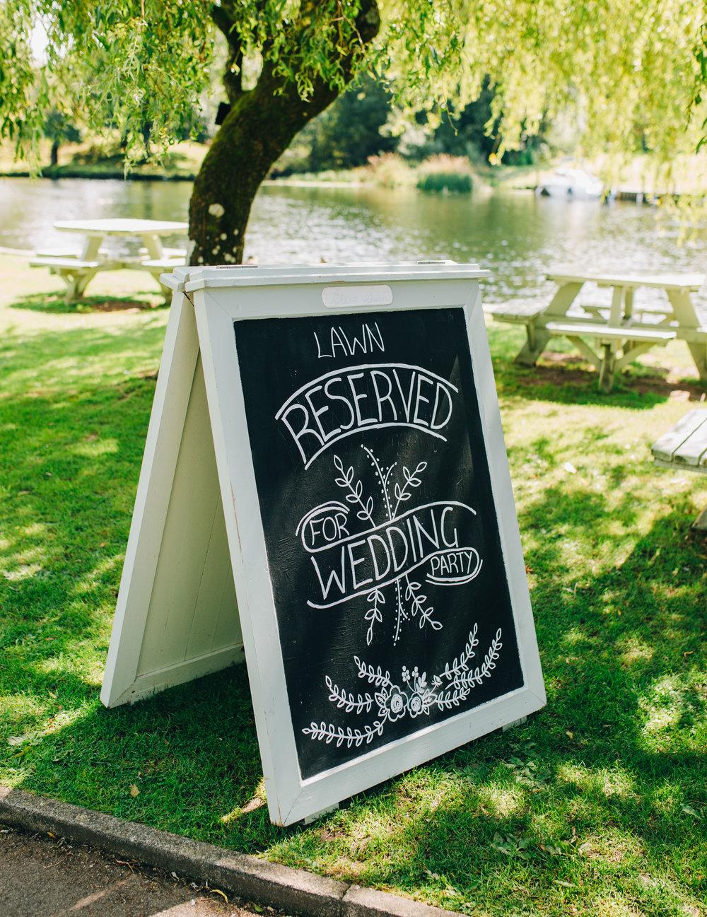 handwritten wedding signs - lake district wedding photography