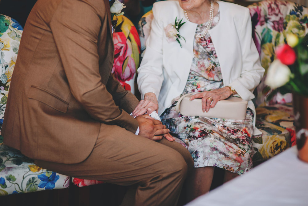a touching moment in the wedding ceremony