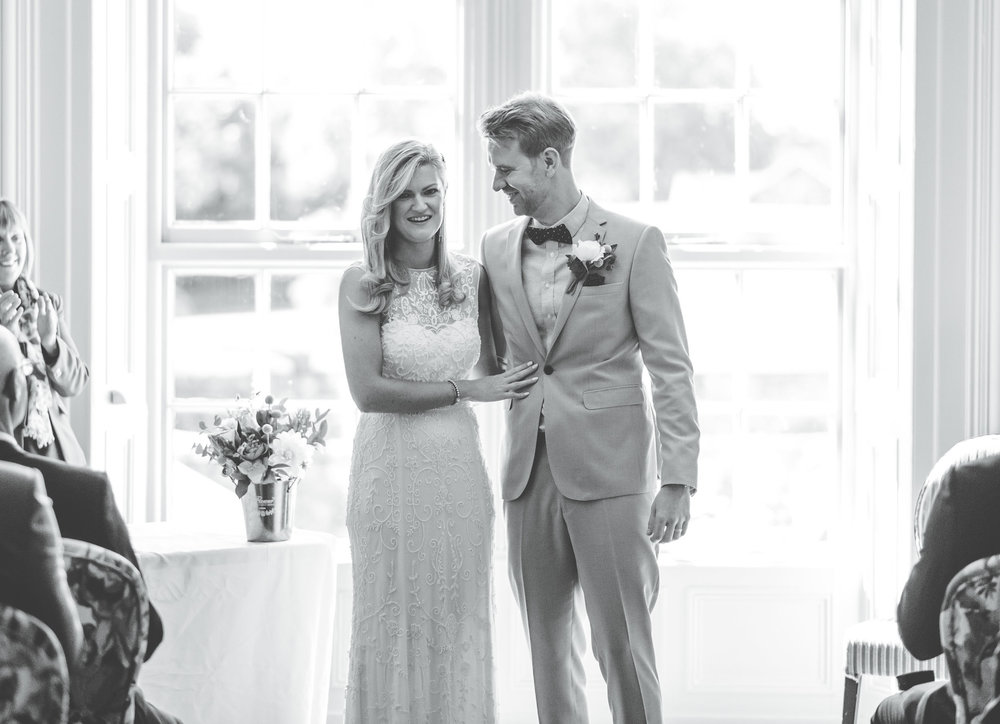happy couple at Swan at newby bridge wedding day