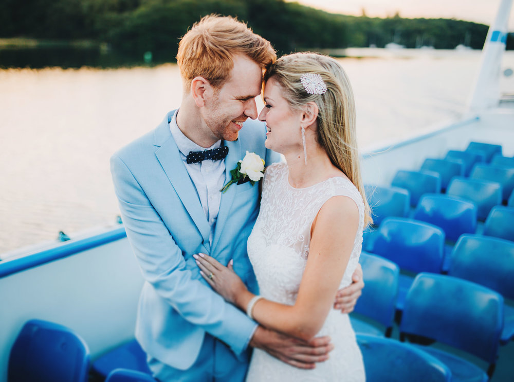 lake district wedding photography - stylish couples pictures on a boat