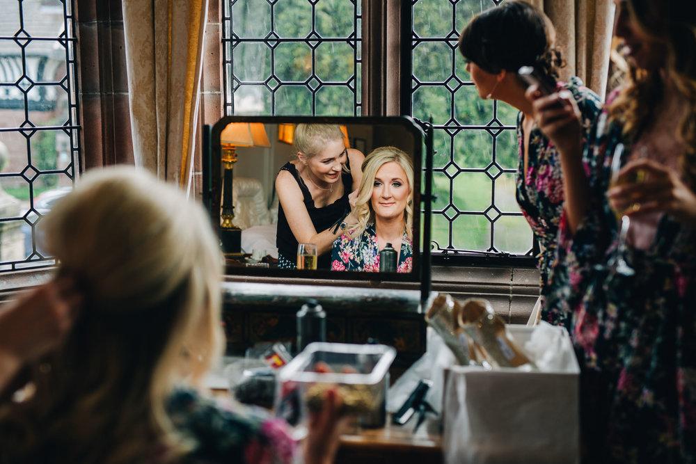 documentary wedding photography cheshire  - bride having her hair done