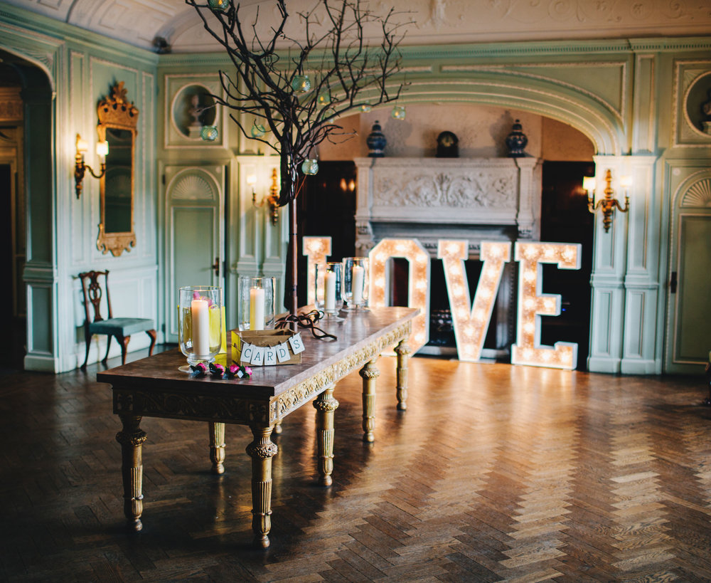 interior details of the wedding set up at thornton manor