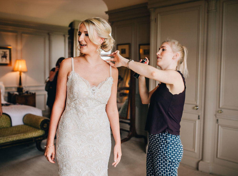 finishing touches for wedding prep - wedding photography in cheshire