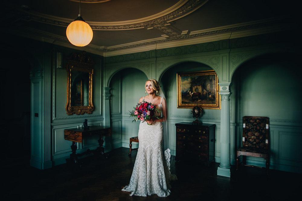 beautiful portrait of the bride at Thornton Manor - wedding photographer cheshire