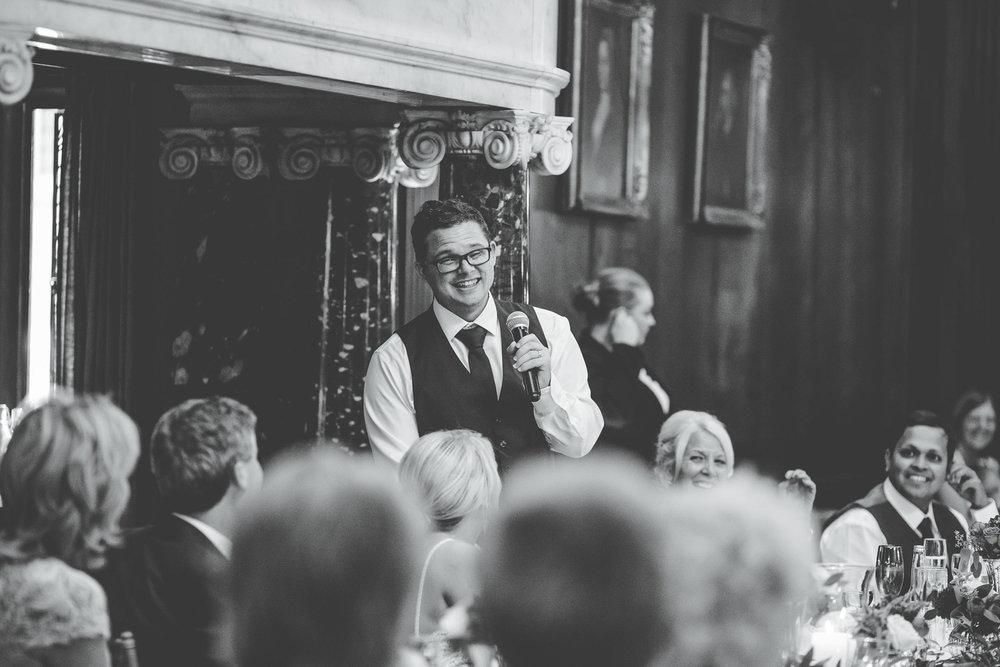 groom's speech at Thornton Manor - wedding photography in cheshire