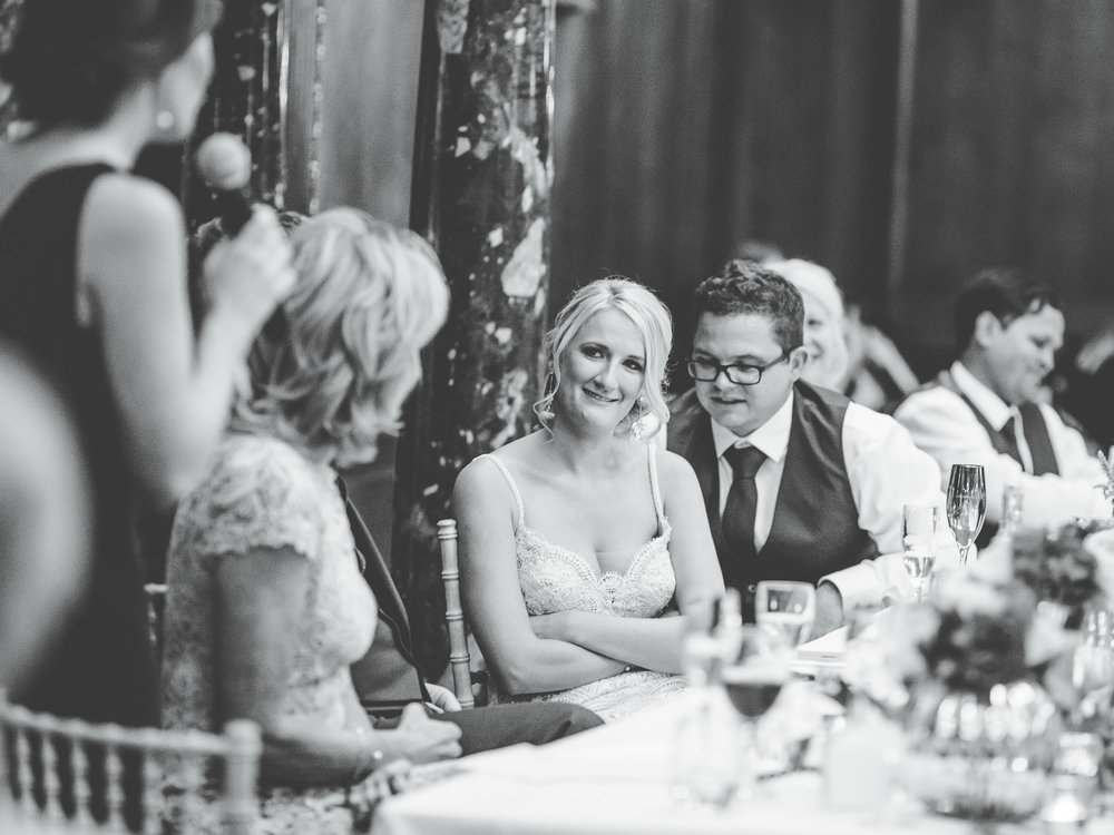 documentary wedding photographer in cheshire - laughing during speeches
