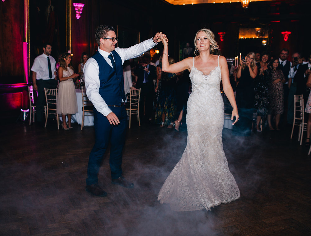 bride and groom have their first dance - documentary wedding photographer cheshire