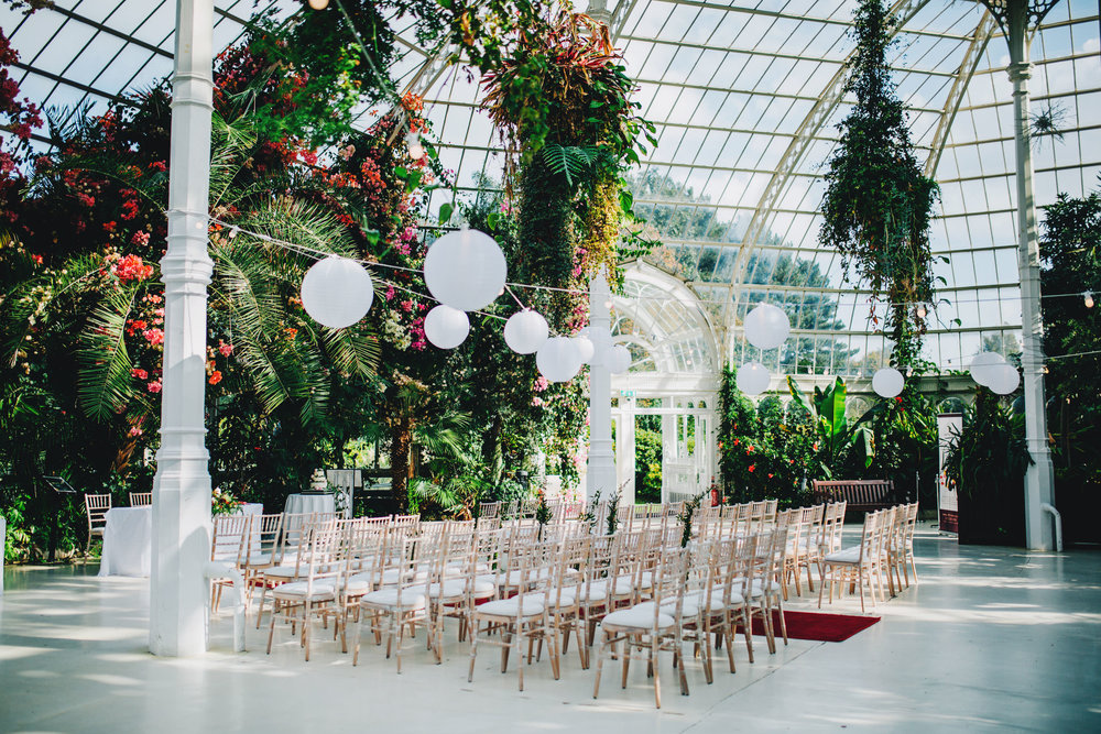 sefton palm house - set up for ceremony