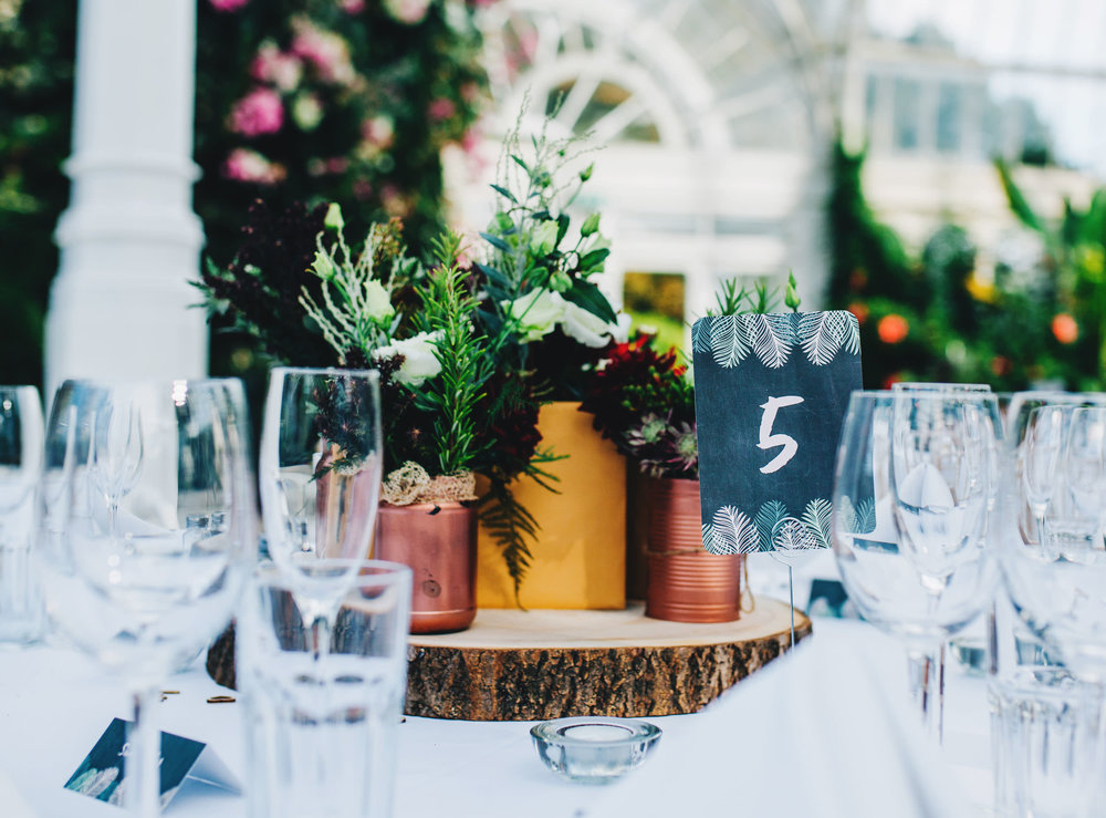 copper themed wedding decor