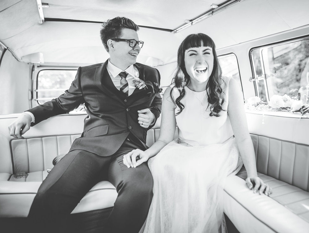 in the camper van - fun wedding photography