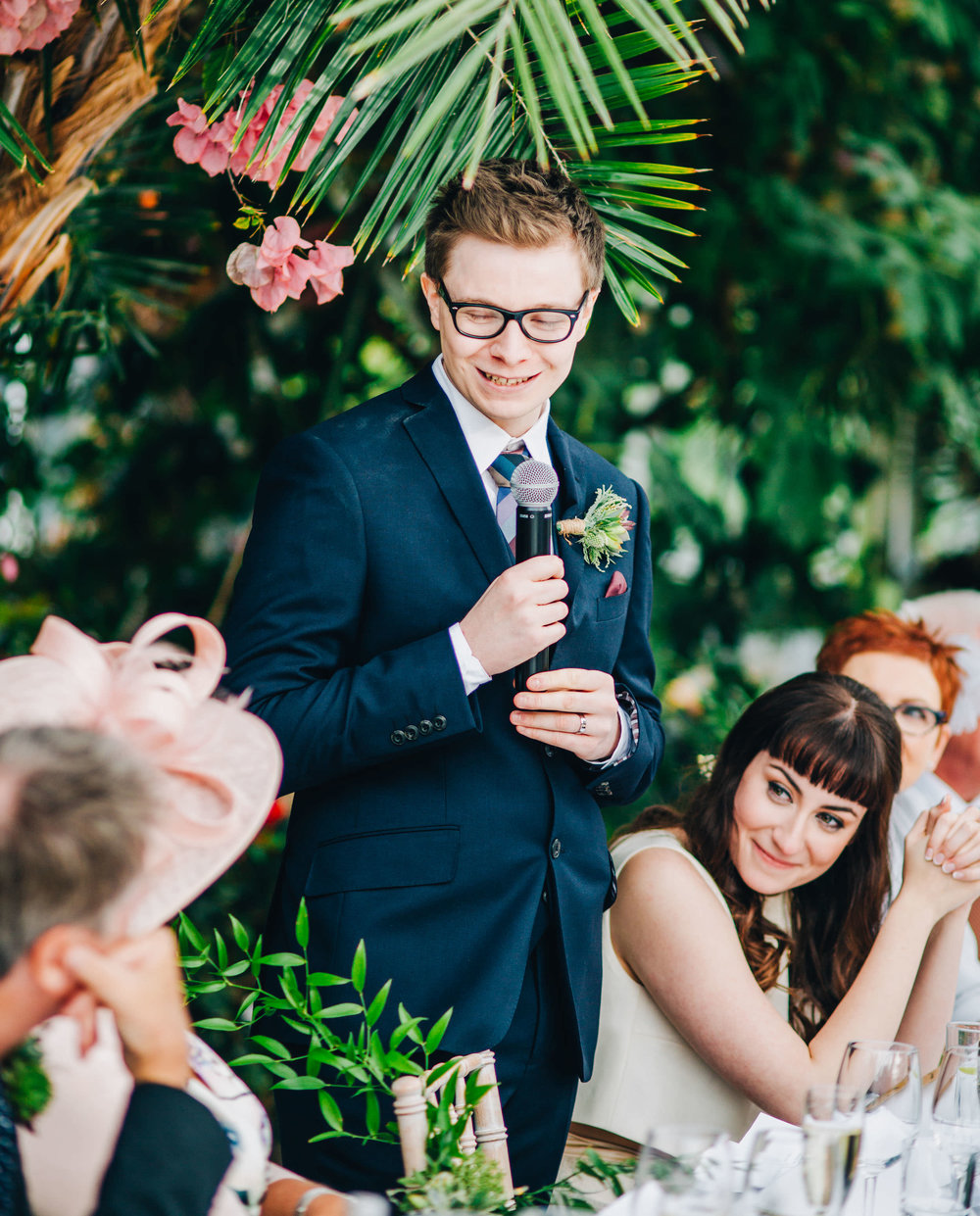 groom gives speech at sefton palm house
