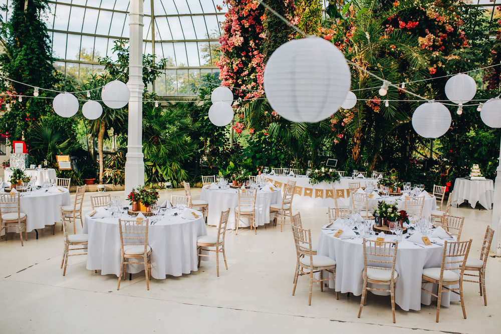 sefton palm house - set up for wedding breakfast