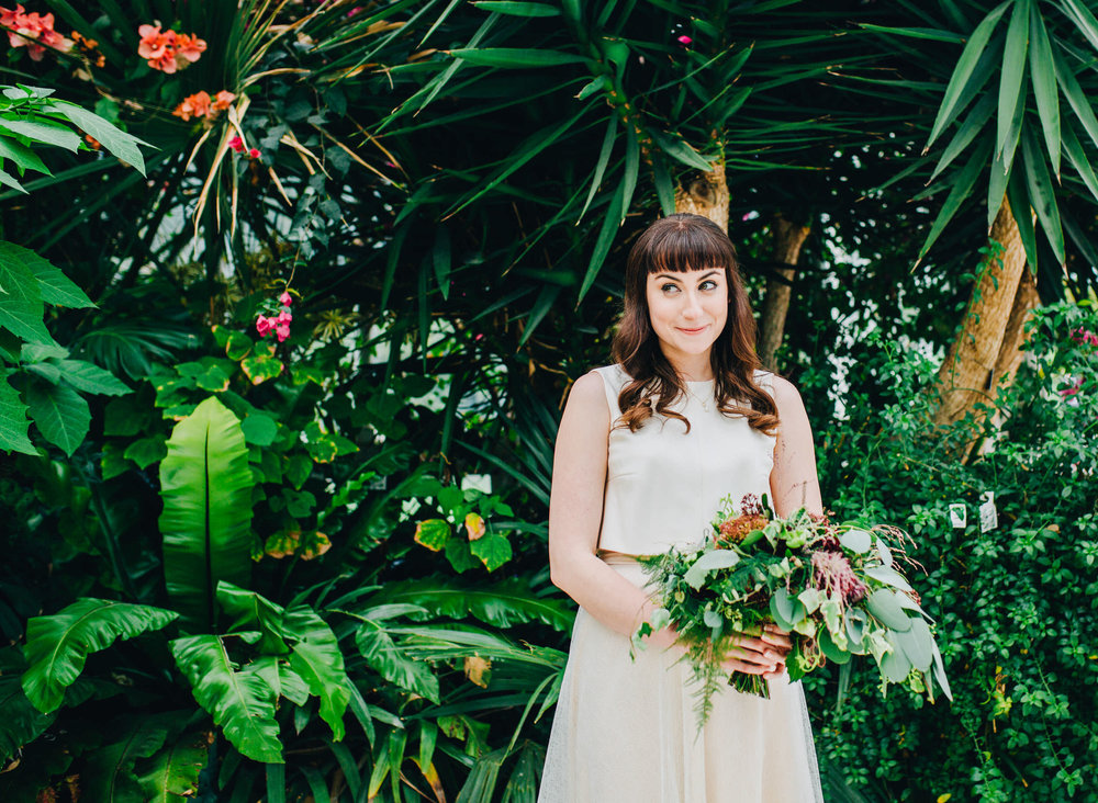 portrait of the bride inside sefton palm house